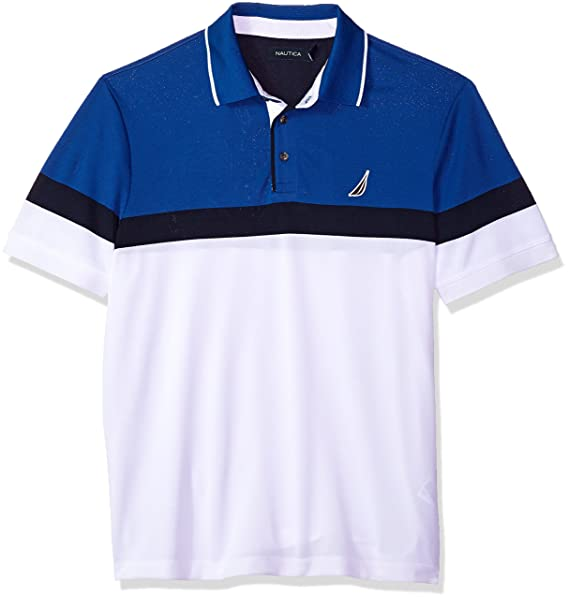 Nautica Mens Classic Short Sleeve Color Block Moisture Wicking ...