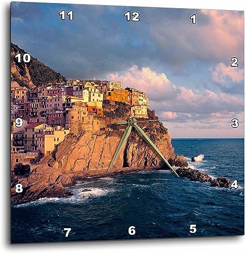 3dRose Italy, Manarola, Cliff Houses, Cinque Terra – Eu16 Rer0083 – RIC Ergenbright – Wall Clock, 13 by 13-Inch DPP_82183_2