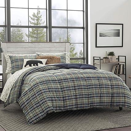 Amazoncom Eddie Bauer Rugged Plaid Comforter Set Fullqueen Dune