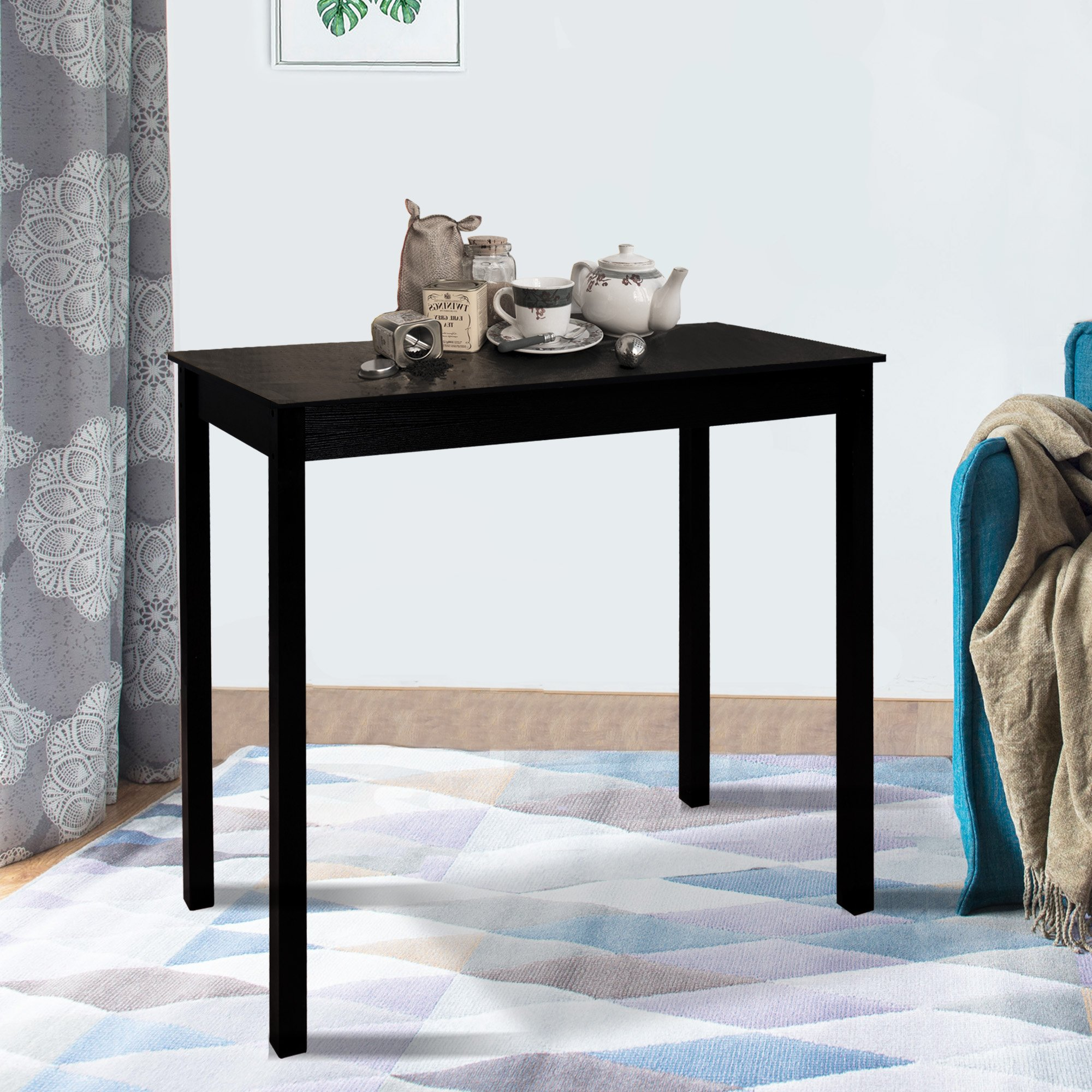 Cloud Mountain Dining Table Pub Table Counter Height Home Bar Table Kitchen Bistro Parkland High Square Tall Table Home Bar, Black