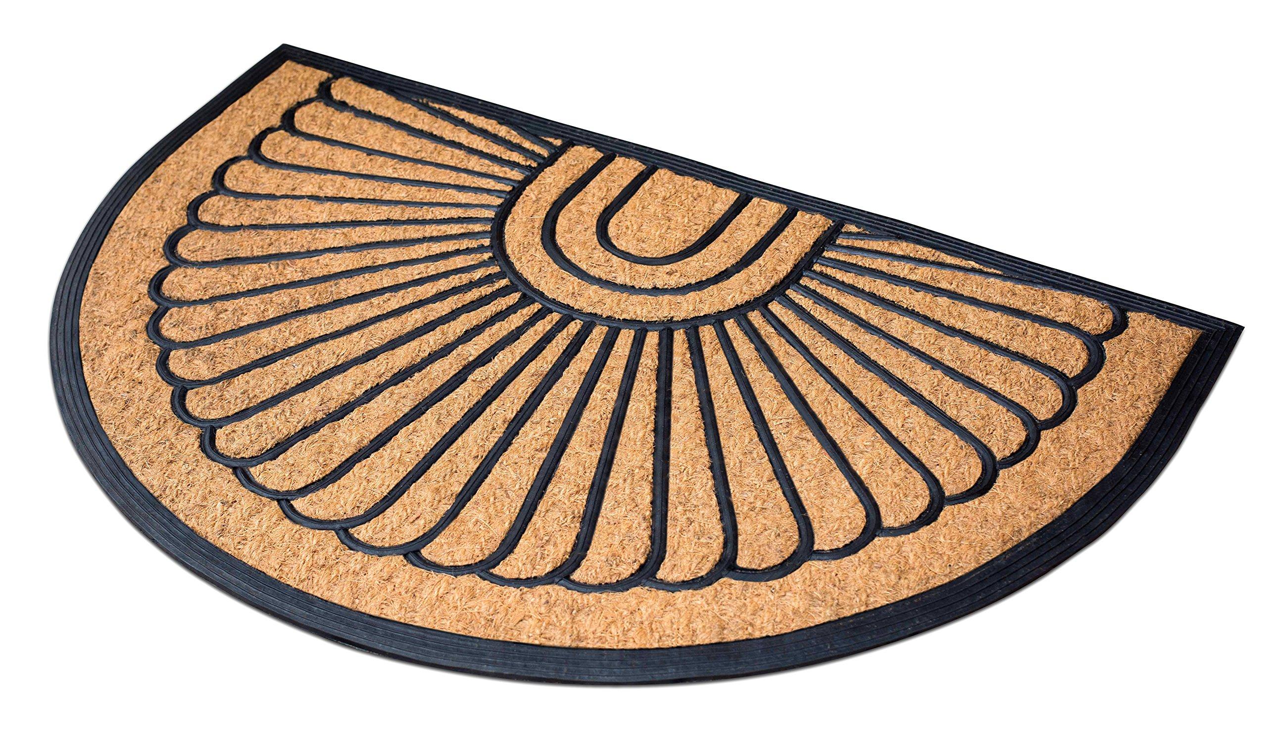 BirdRock Home 24 x 36 Half Round Natural Coir and Rubber Doormat | Natural Fibers | Outdoor Doormat | Keeps your Floors Clean | Decorative Design | Brush Coir