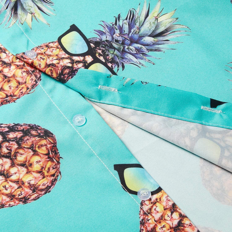 TUONROAD Hawaiihemd Herren 3D Bier Ananas Hemd Kurzarm Button Down Freizeithemden Sommerhemd M-XXL