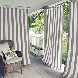 """Elrene Home Fashions Highland Cabana Stripe Indoor/Outdoor Adhesive Loop Fastener Tab Top Window Curtain Panel for Patio, Pergola, Porch, Deck, and Lanai, 50""""x95"""", Gray (026865954234)"""