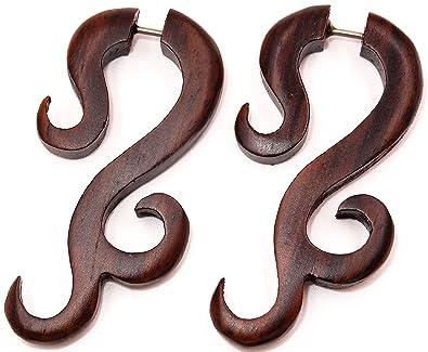 Falso Dilatador madera pendientes Piercing Wooden Gauge Earring Fake par Expander espiral marrón: Amazon.es: Joyería