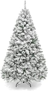 Best Choice Products 6ft Snow Flocked Hinged Artificial Pine Christmas Tree Holiday Decoration w/Metal Stand