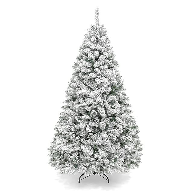 Best Choice Products Premium Snow Flocked Hinged Artificial Pine Christmas Tree
