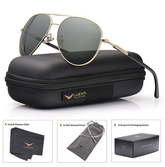 LUENX Hombre Gafas de sol Aviador polarizado con estuche - UV 400 No Espejo de protección Verde Gris Lente Marco de metal 60mm: Amazon.es: Ropa y accesorios