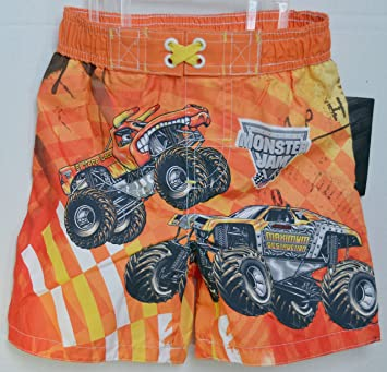 c83dbad3c5 Image Unavailable. Image not available for. Color: Boys Orange Monster  Truck Jam Swim Shorts ...