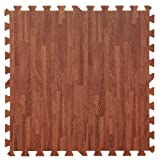 Large Wood Effect Interlocking Foam Mats - Perfect for Floor Protection, Garage, Exercise, Yoga, Playroom. Eva foam (4 tiles, Brown - Each tile = 62 x 62cms)
