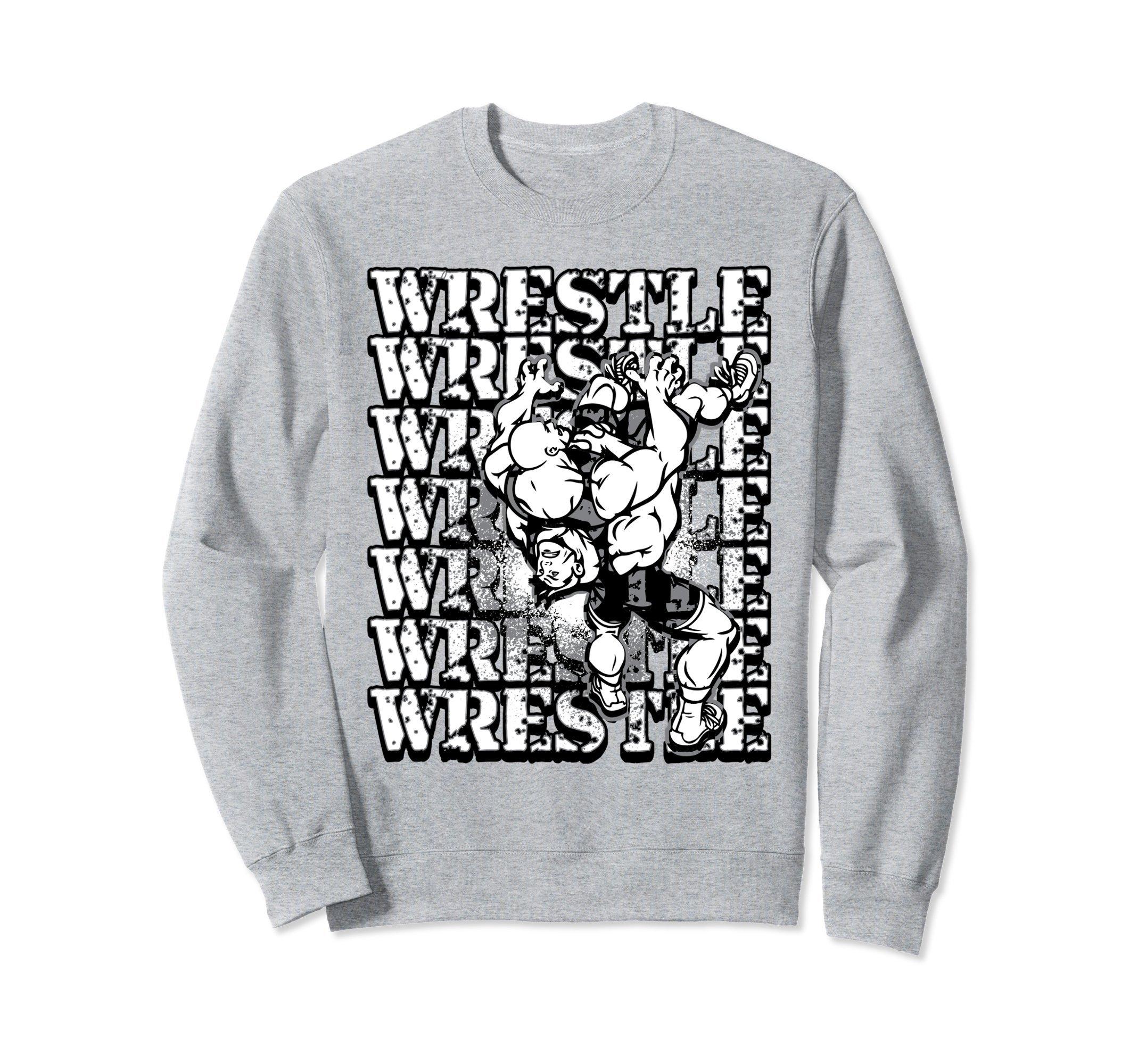 Unisex Wrestling Sweatshirt - Wrestle Wrestle Wrestle Sweater Small Heather Grey
