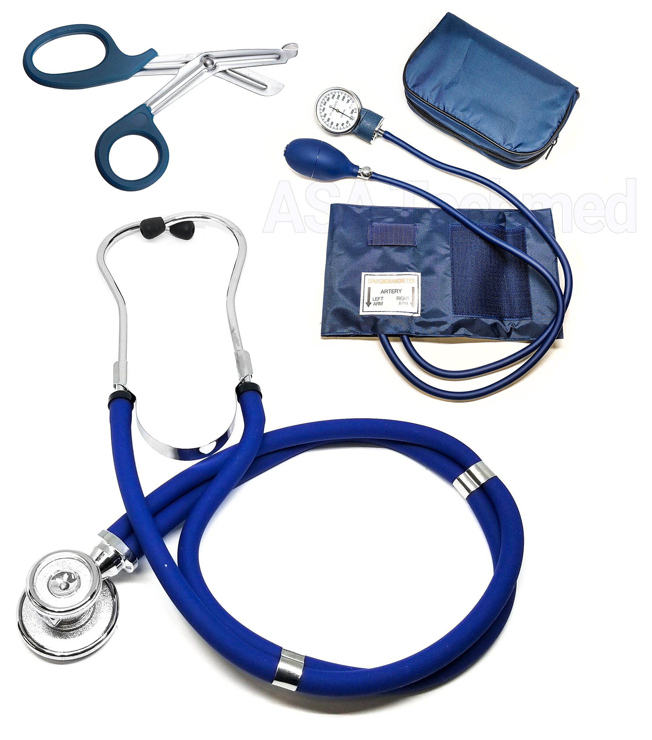 ASATechmed Nurse/EMT Starter Pack Stethoscope, Blood Pressure Monitor and Free Trauma 7.5'' EMT Shear Ideal Gift for Nurse, EMT, Medical Students, Firefighter, Police and Personal Use (Navy Blue)