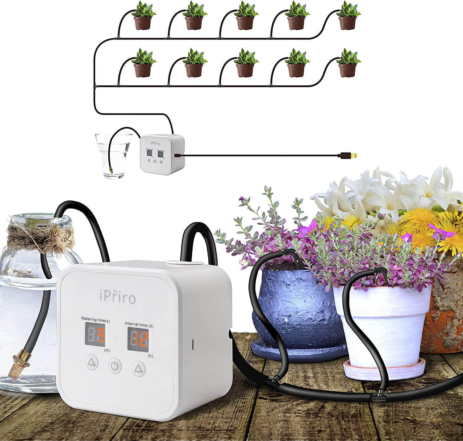 iPriro Indoor Automatic Watering System, Plant Cultivation Equipment with a Watering Cycle of up to 30 Days, with 5V USB, Indoor Pot drip Irrigation Set, for 10 Plants, Care Equipment