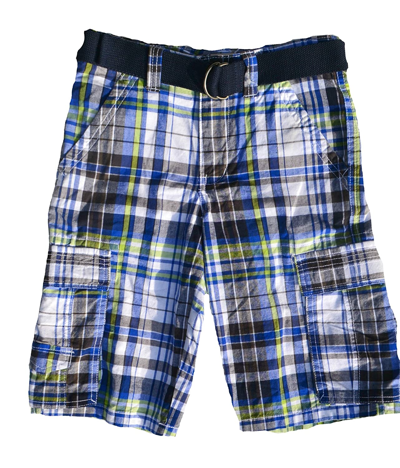 Toughskins Boys Belted Cargo Shorts 10, Navy Plaid
