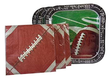 Party Pack Football Paper Plates (42) Paper Napkins (60)  sc 1 st  Amazon.com & Amazon.com: Party Pack Football Paper Plates (42) Paper Napkins (60 ...