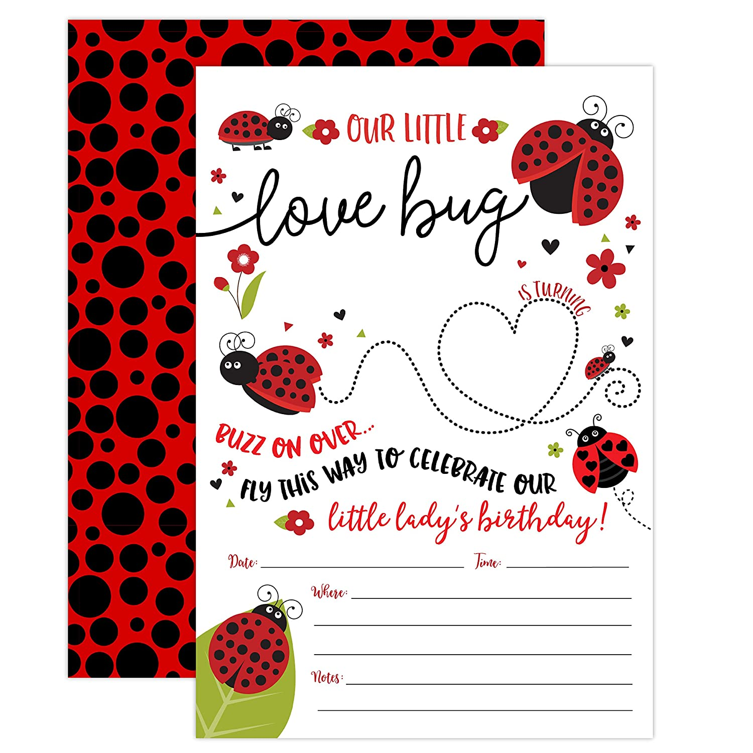 Ladybug Birthday Invitation, Lady Bug Party Invite 20 Fill In Style with Envelopes, Little Lady Girl Birthday Invitations
