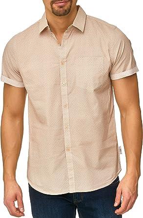 Indicode Caballero Christchurch Camisa con Bolsillo en el Pecho de 100 % algodón | Regular Fit Manga Corta Camisa Tono sobre Estampado Allover-Print Marca Informal para Hombres: Amazon.es: Ropa y accesorios