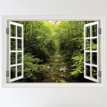 Full Colour Forest Woodland River Window Scene Wall Sticker Decal Wall Art  Mural (W70xH49cm) Part 31