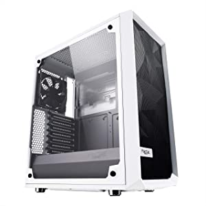 Fractal Design Meshify C - Compact Mid Tower Computer Case - Airflow/Cooling - 2X Fans Included - PSU Shroud - Modular Interior - Water-Cooling Ready - USB3.0 - Tempered Glass Side Panel - White
