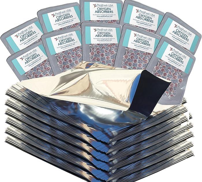 PackFreshUSA: 100 Pack - 5 Mil - One Gallon Heavy Duty Mylar Bags (10