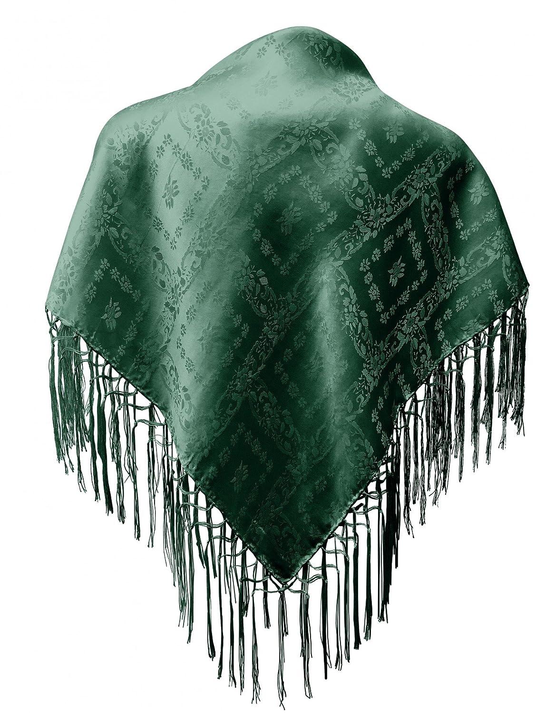 Seidentuch Dirndl-Trachtentuch Tuch grün 75 x 75cm Dirndltuch Seide Fransentuch für Tracht Trachtenseidentuch mit Fransen Schultertuch Halstuch silk clouth hochwertigste Qualität!