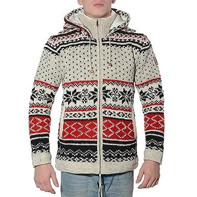 882fcd03a7f4 Kunst und Magie Klassische Herren Strickjacke Wolle Jacke mit Fleecefutter  und Kapuze  Amazon.de  Bekleidung