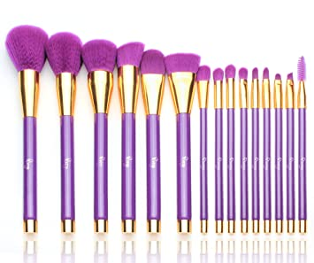 purple makeup brushes. qivange makeup brush set, professional foundation powder eyeshadow brushes with cosmetic bag(purple purple l
