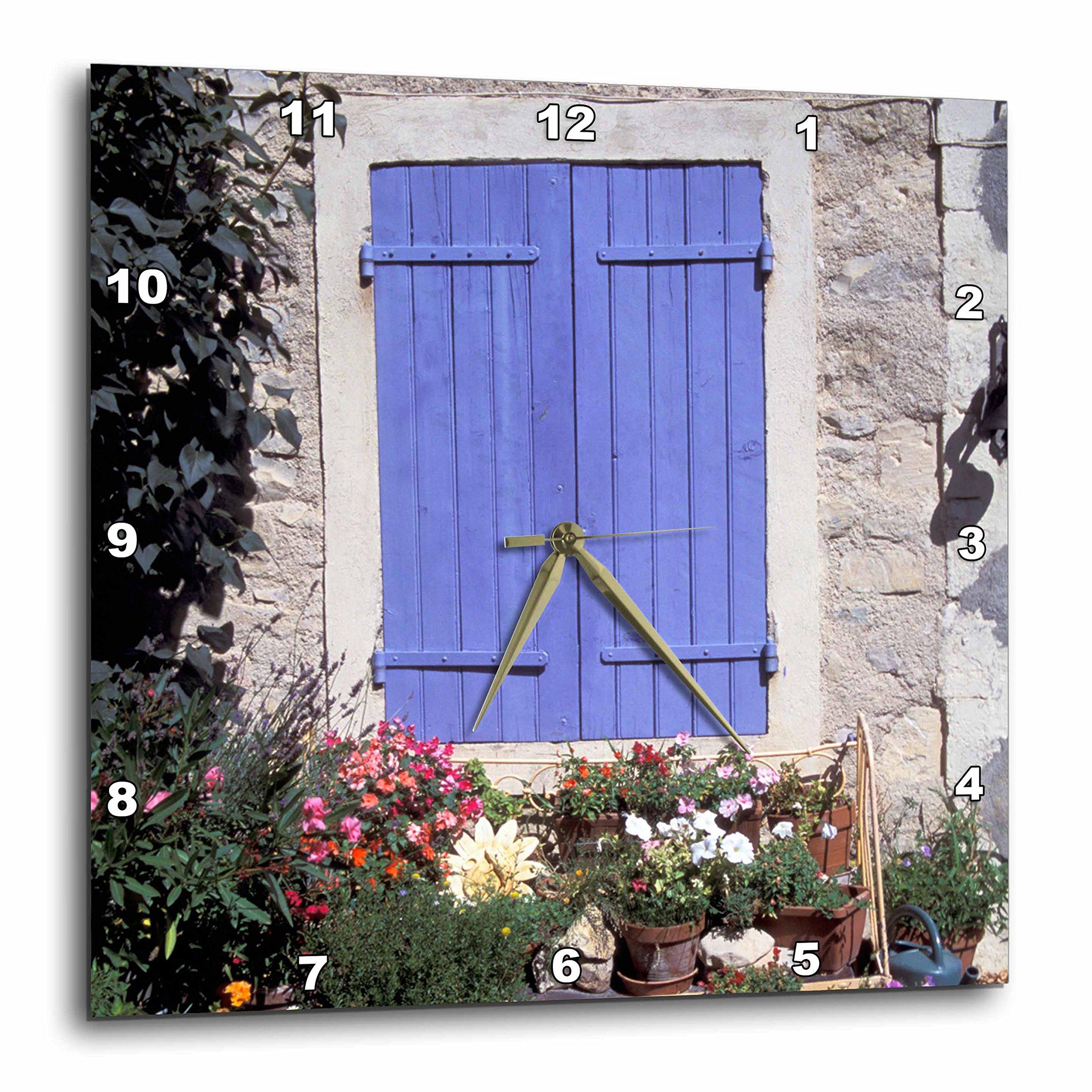 3dRose 3D Rose dpp_81524_1 France, Provence, Flowers in Front of Window-EU09 GJE0056-Gavriel Jecan-Wall Clock 10-Inch (1)