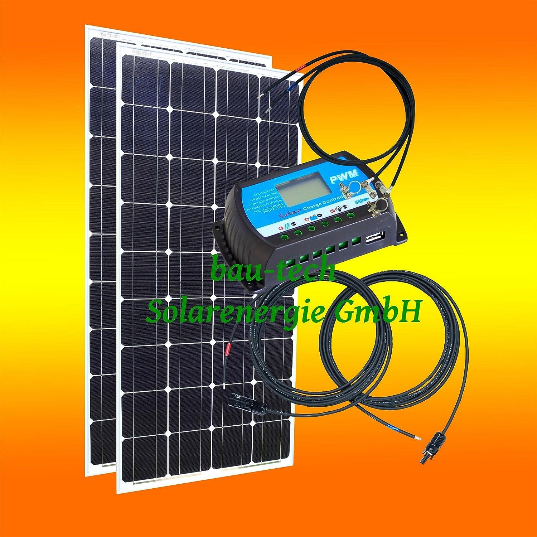 200Watt 12Volt Inselanlage, Solar Bausatz, Basis Set für Garten Camping von bau-tech Solarenergie GmbH