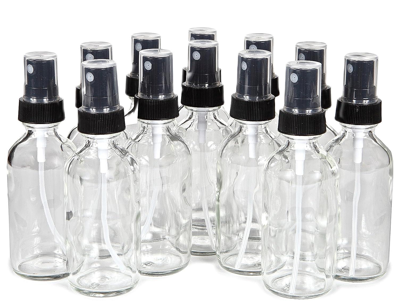 Vivaplex, 12, Clear, 2 oz Glass Bottles, with Black Fine Mist Sprayers PSC Products