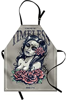 0c5ff3449 Lunarable Skull Apron, Day of The Dead Girl with Tattoos Roses Lady Witch  Woman Sign