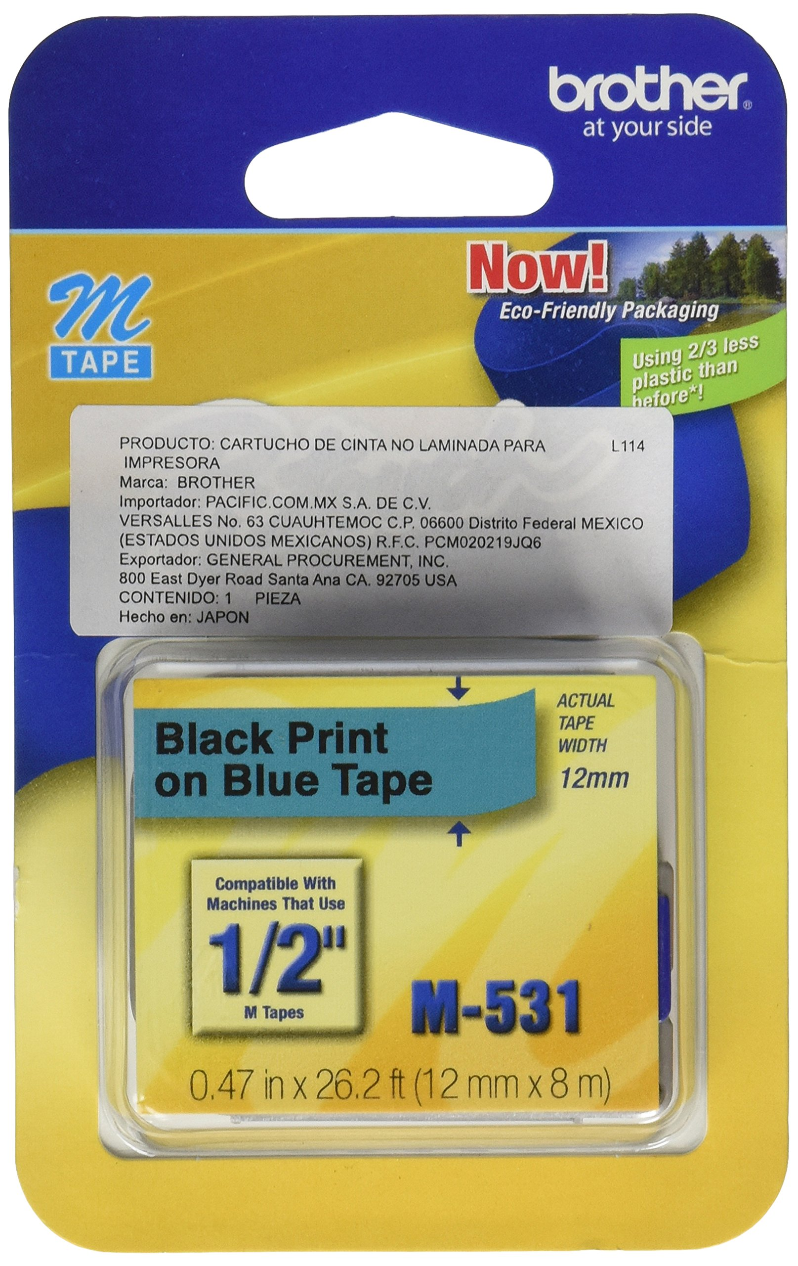 Brother Tape Cartridge 0.5IN Wide, Non-laminated Black On Blue ( M531 ) by Brother (Image #1)