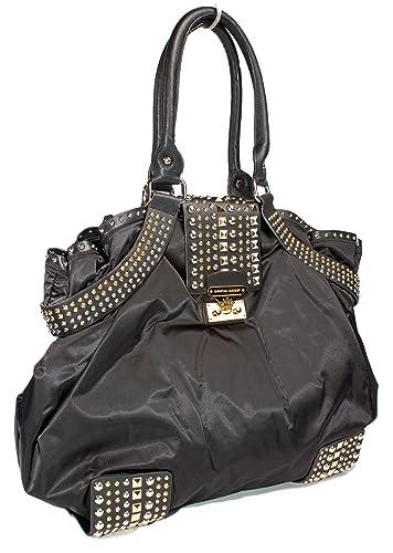 c19506b53438 Amazon.com  Christian Audigier Big Mack Black Nylon Leather Metal Studded Tote  Handbag Shoulder Bag  Shoes