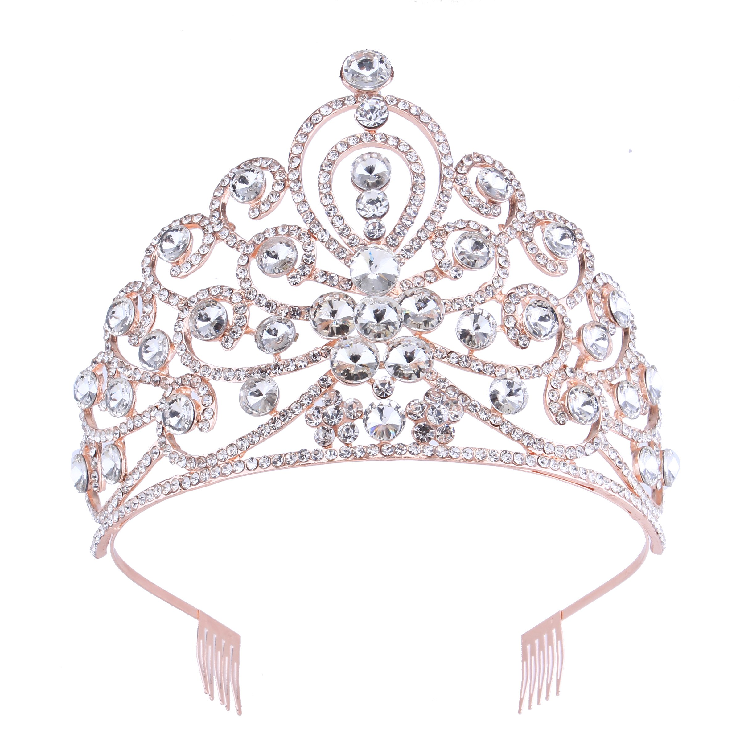 Rose Gold Big Peacock Crystal Prom Pageant Rhinestone Tiara Birthday Party Crown