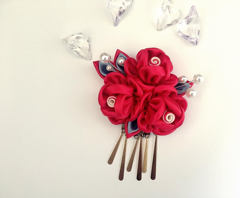 Tsumami Kanzashi - Pinza para el pelo, hecha a mano, diseño de flores de tela Kanzashi, color rojo