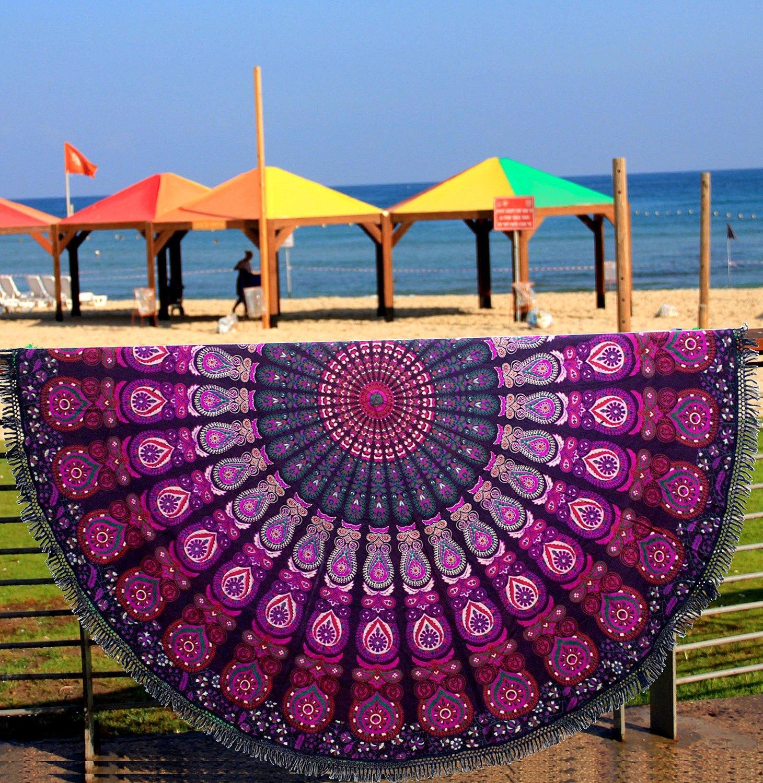 Indian Mandala Round Roundie Beach Throw Tapestry Hippy Boho Gypsy Cotton Tablecloth Beach Towel , Round Yoga Mat Beach Round Shawl, 72 Inch Beach Leisure, Picnic Mat Aakriti Gallery (White, 100%-cotton) TAPR TAPR11