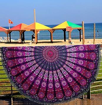 Pañuelo redondo con estampado de cola de pavo real y mandala indio, toalla de playa, tapiz, ...