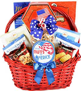 Gift Basket Village The All American Gift Basket - Patriotic Gift Basket with Gourmet Snacks to Celebrate and Honor Our Great Nation