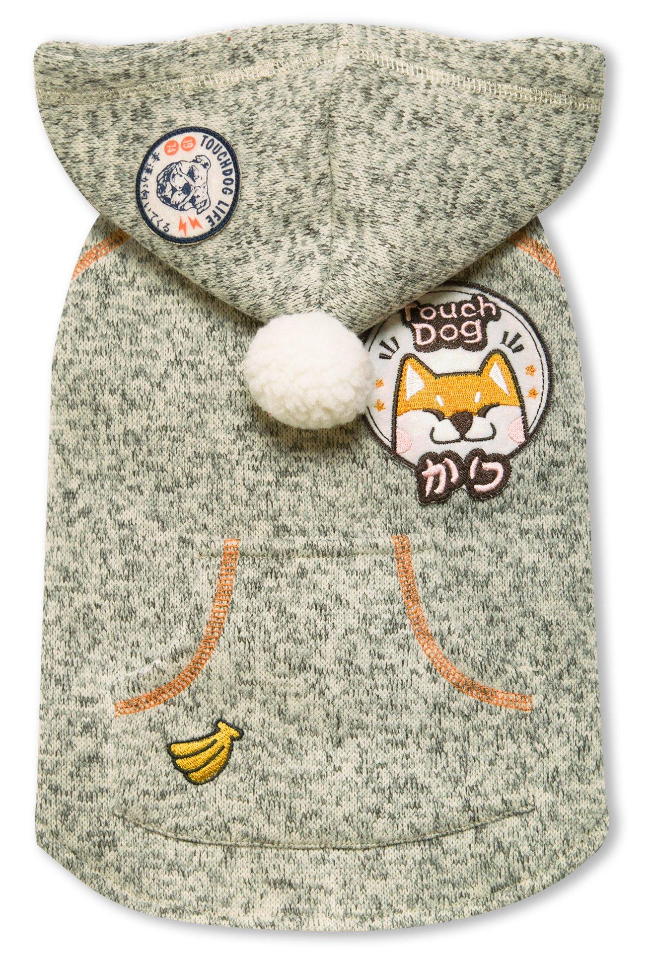 touchdog Hippie Swag' Sleeveless Pompom Designer Fashion Pet Dog Sweater Hoodie Jacket Coat, Small, Olive Green