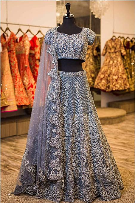959a30b79d Amazon.com: Grey Designer Royal Bollywood Wedding Festive Party Wear  Lehenga Choli Ghagra Dupatta Indian Muslim Zari Custom to Measure: Home  Improvement
