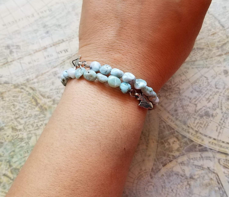 Dainty Bangle Bracelet Genuine Caribbean Larimar Bracelet Silver Bracelet Caribbean Larimar Jewelry Dainty Larimar Charm Bracelet