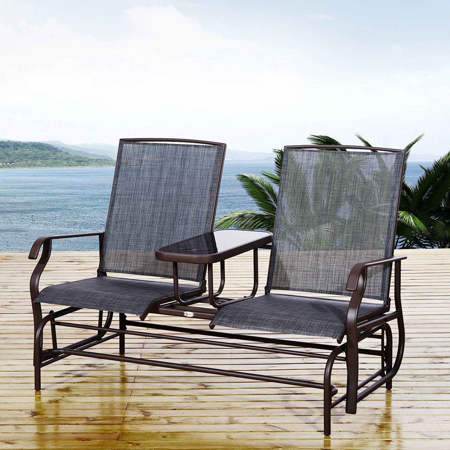 Festnight 2 Person Outdoor Patio Double Glider Chair with Center Coffee Table, Mesh Fabric