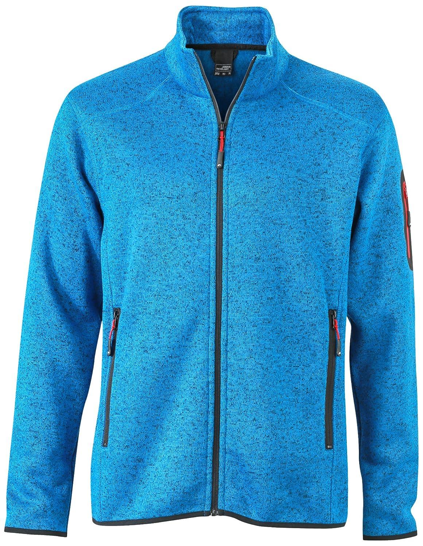 James & Nicholson giacca da uomo lavorato a maglia in pile da uomo, Blu (Royal-Melange Red), X-Large (Tallia Produttore  X-Large)