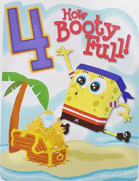 Amazon Spongebob Squarepants Pirate Happy 4th Birthday Greeting Card For Boy