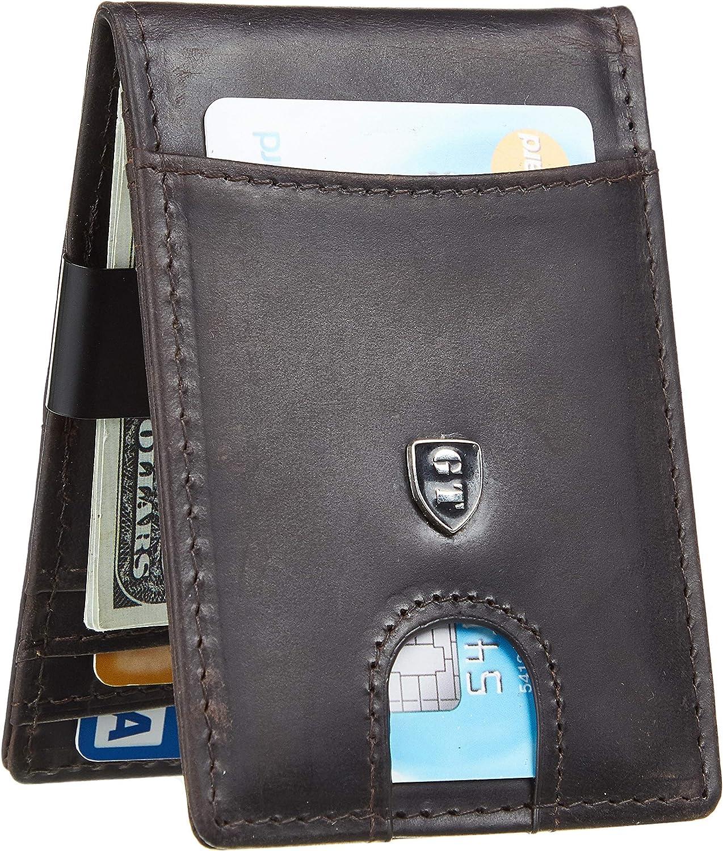 Gostwo Mens Bifold Wallet Money Clip RFID Blocking Travel Wallet Credit Card Holder (Crazy Horse Coffee)