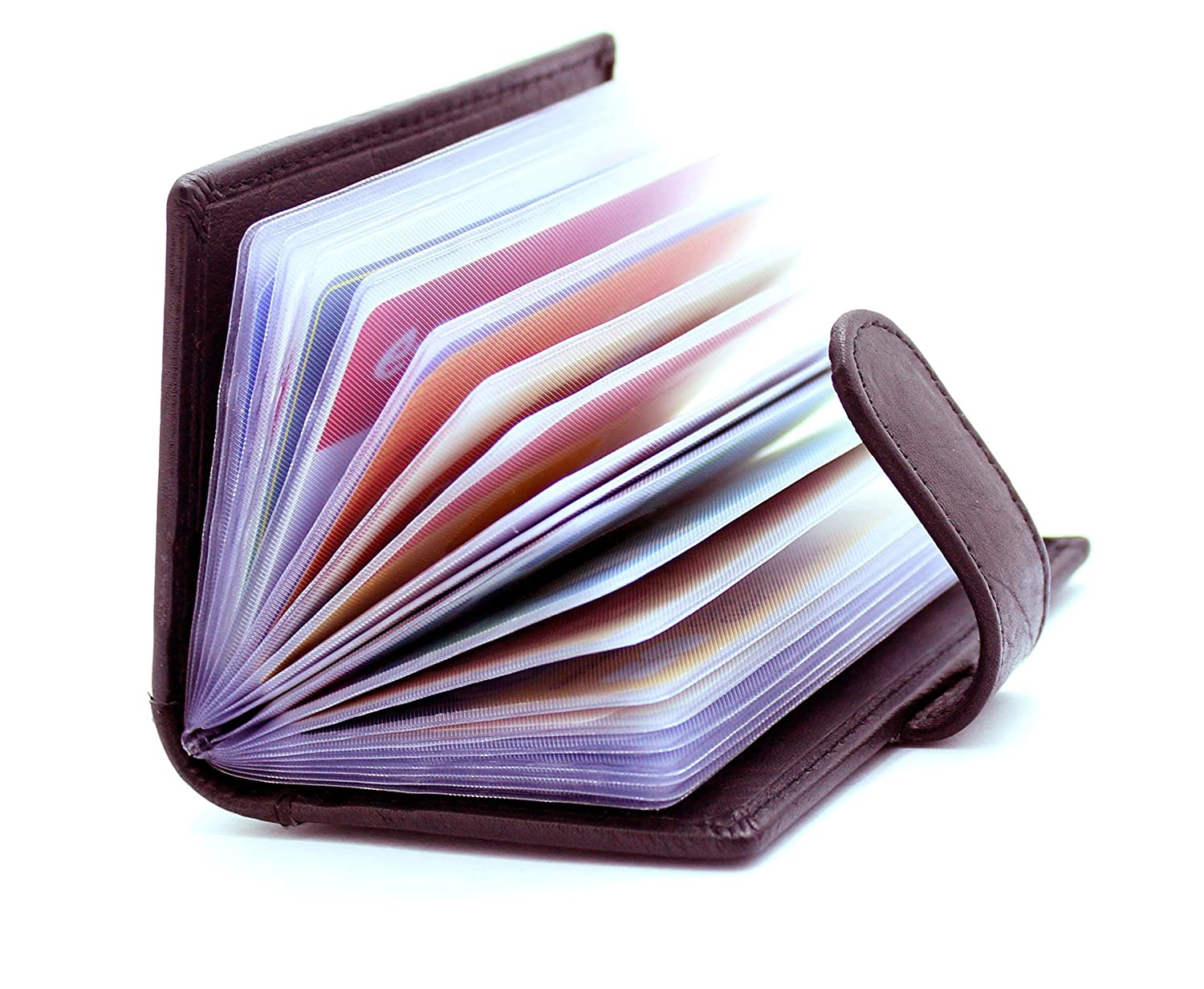RAS WALLETS Mens Leather Credit Card Holder Wallet-20 Clear Plastic Pockets Brown