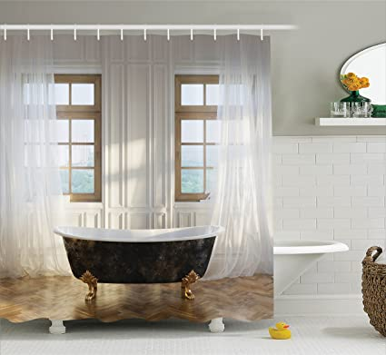 Ambesonne Retro Shower Curtain Antique Decor Set Bathtub In Modern Room Interior Hardwood Classics
