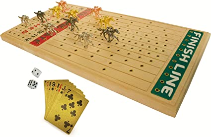 Amazon Com Fineni Horse Racing Board Game With Luxurious Durable Metal Horses 11 Pieces 1 Design 4 Colors 3 Gold 3 Silver 3 Black And 2 Bronze Real Birch Wood Horseracing
