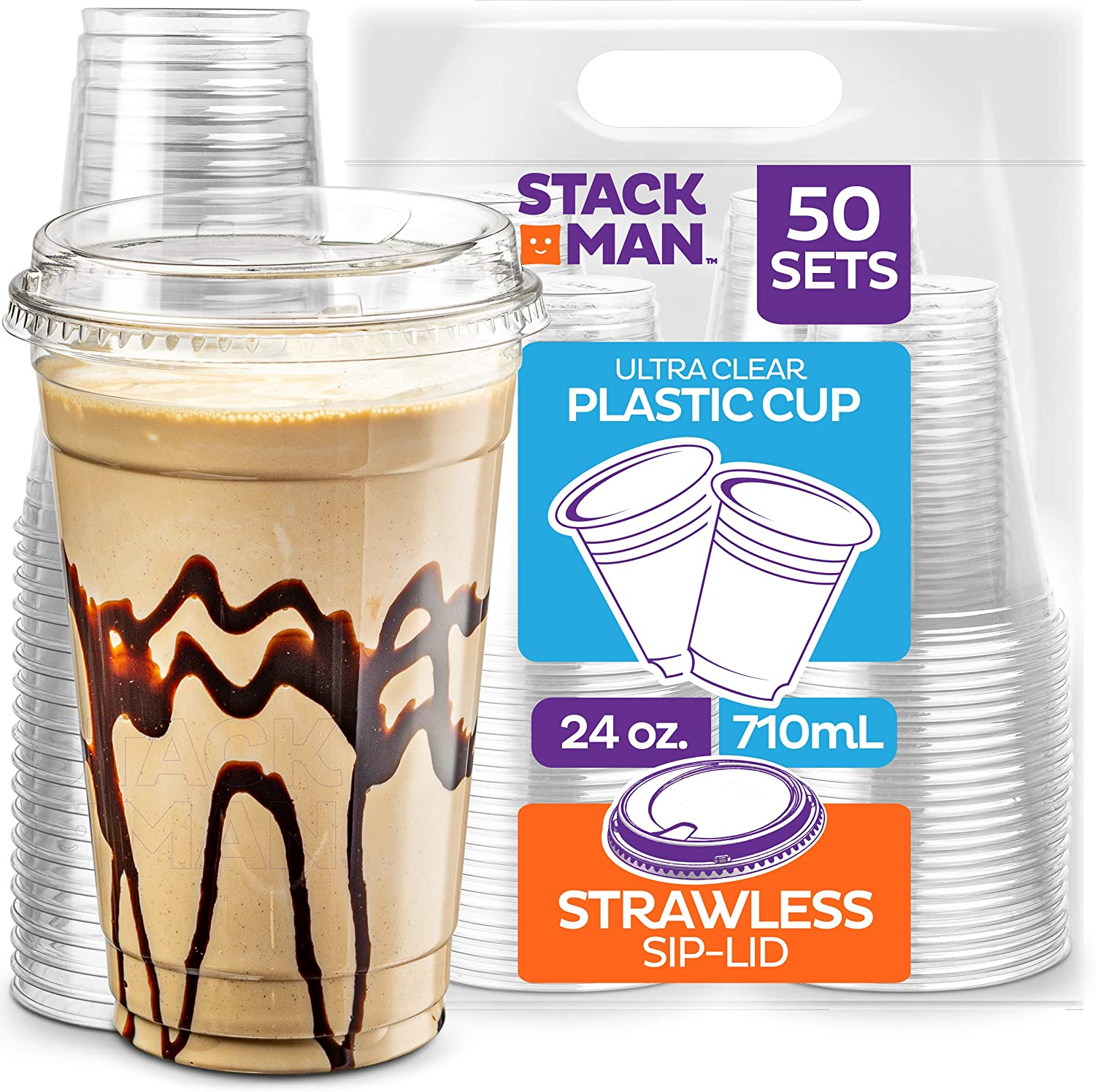 24 oz. Clear Cups with Strawless Sip-Lids, [50 Sets] PET Crystal Clear Disposable 24oz Plastic Cups with Lids
