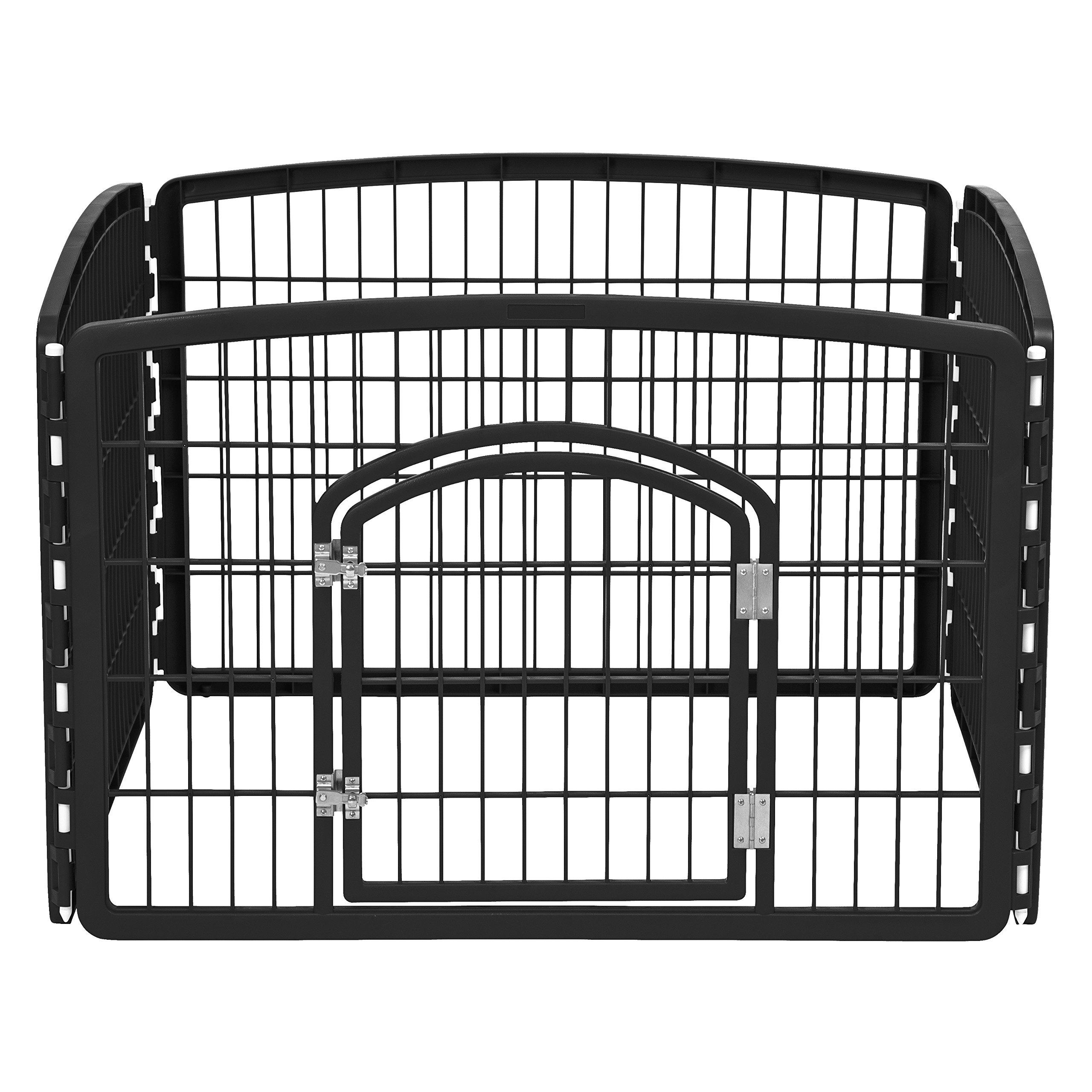 IRIS 24'' Exercise 4 Panel Pet Playpen with Door, Black by IRIS USA, Inc.