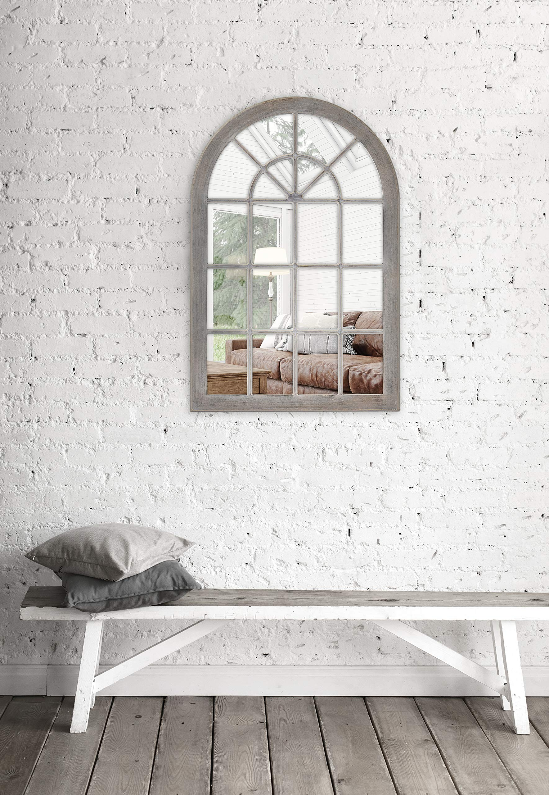 MCS 68874 Countryside Arched Windowpane Wall, Gray, 24x36 Inch Overall Size Mirror, by MCS (Image #3)